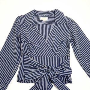 Maeve Long Sleeve Oxford Stripe Blouse Sz 4